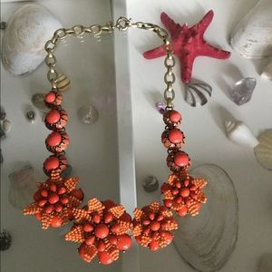 J Crew Coral Stones and Beads Necklace